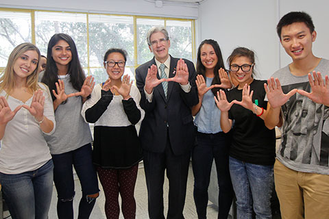 President Julio Frenk and architecture students